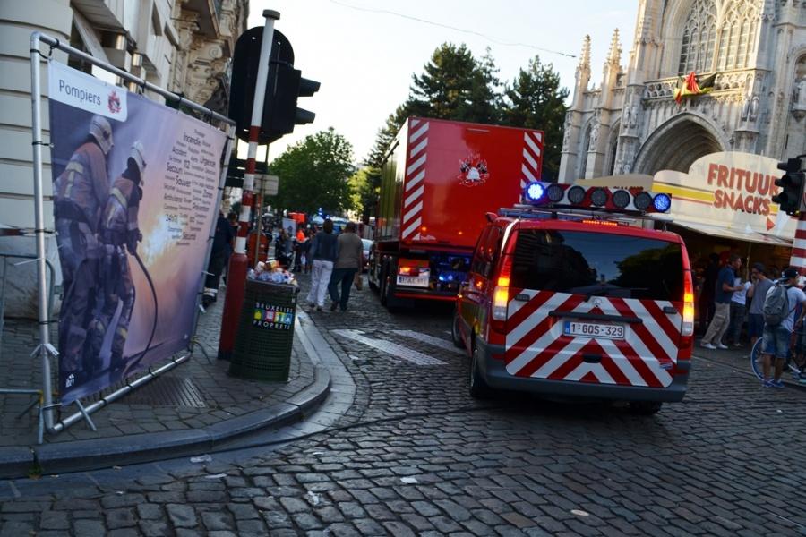 Veiligheidsdorp op de Zavel in Brussel tijdens de Nationale Feestdag